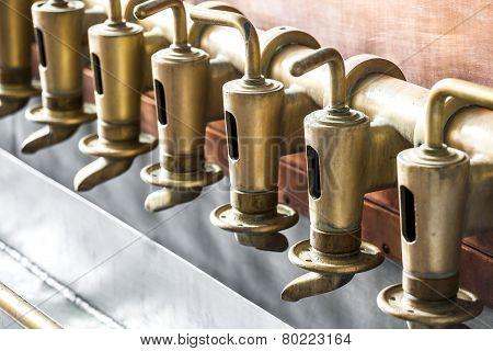 Copper Tap In Beer Brewery
