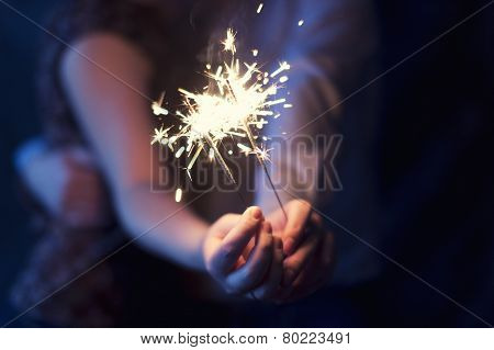 Sparklers In The Hands Of The Couple