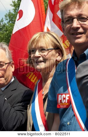 Marie-George Buffet and Jean Laurent, French Communist Party leaders at a street demonstration in Pa