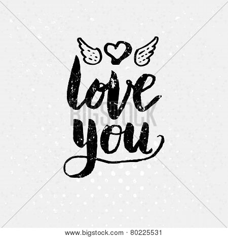 Black Love You Text on light Background