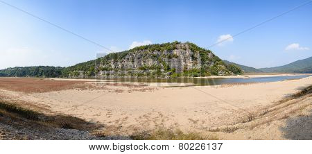 Steep Cliff With River In Andong