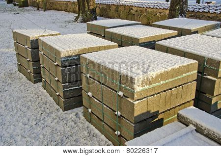 Building Materials Concrete Blocks In Urban Winter Street