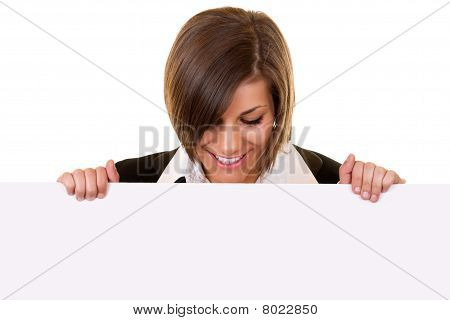 Brunette Girl Holding Big Board