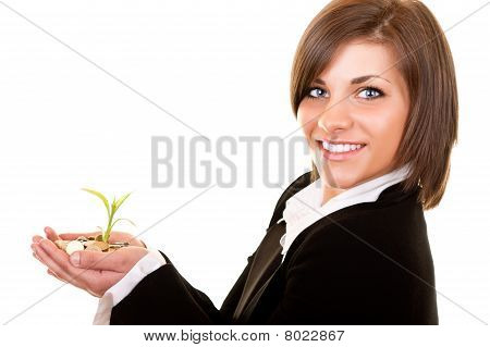 Growing Plant With Coins In Hand