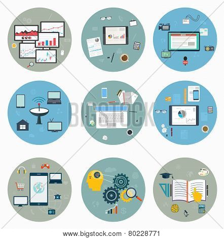 Flat Icons For Web And Mobile, Business Strategy, Concept Mobile Applications, Journalism, Workspace