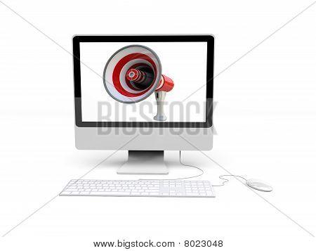 Desktop With Megaphone Background