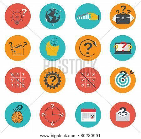Set Of Business Icons Flat, Marketing, E-commerce, Finance