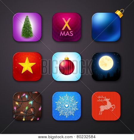 Set of icons stylized like mobile app. Vector illustration.