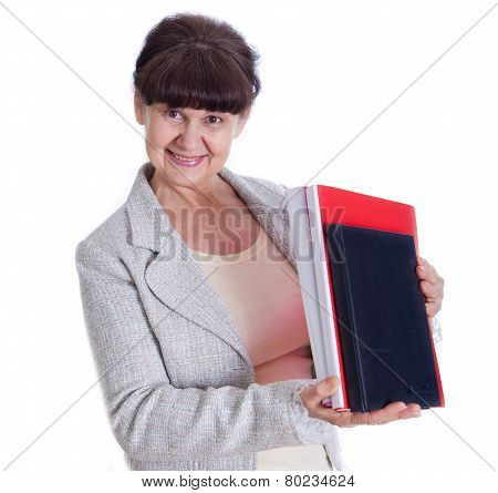 Aged lady posing like a office worker, admin, secretary