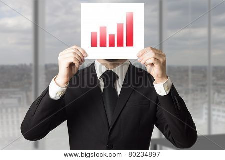 Businessman Hiding Face Behind Sign Red Bar Diagram