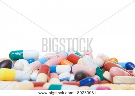 Various pharmaceuticals. All on white background.