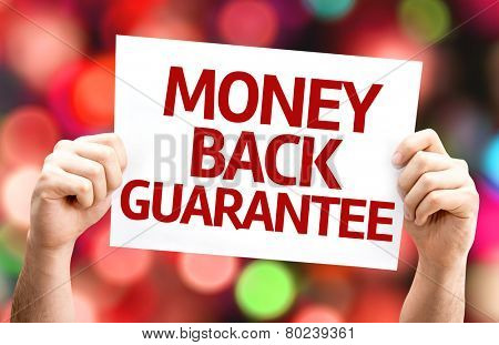 Money Back Guarantee card with colorful background with defocused lights