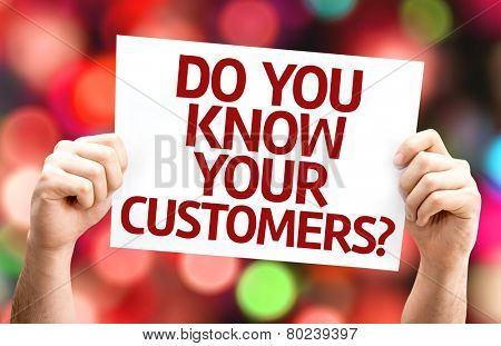 Do You Know Your Customers? card with colorful background with defocused lights