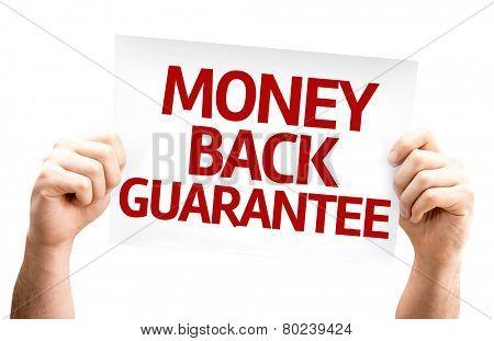 Money Back Guarantee card isolated on white background