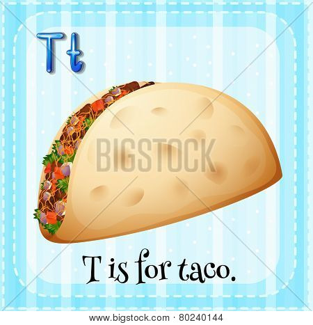 Illustration of a letter T is for taco