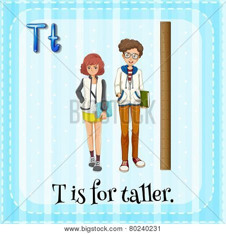 Illustration of a letter T is for taller