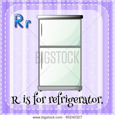 Illustration of a letter R is for regrigerator