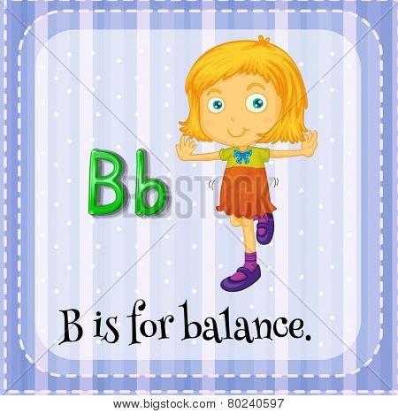Illustration of an alphabet B is for balance