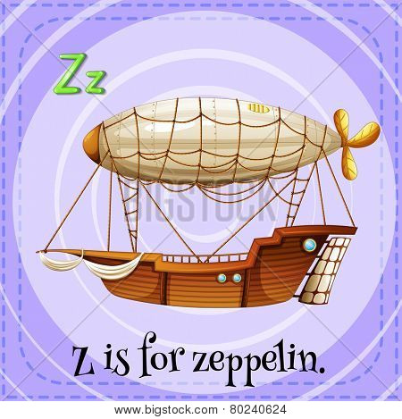 Illustration of a letter Z is for zeppelin