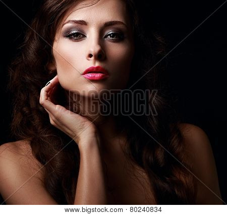 Beautiful Mystery Woman Face Kissing Her Hot Pink Lips
