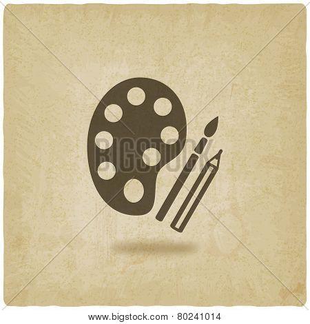 brush palette pencil art symbol old background