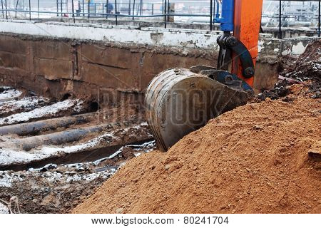 excavator arm and backhoe