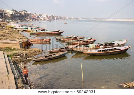 General View Of Ghats And The Ganges River, Varanasi, India