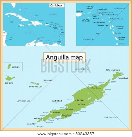 Map of Anguilla drawn with high detail and accuracy.