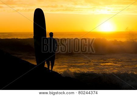 Long Boarder Watching The Waves