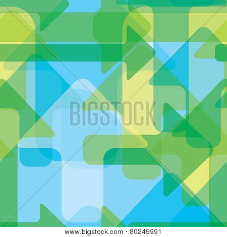 Moving Colorful Transparent Arrows, Seamless Vector Pattern