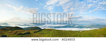 Summer Morning Cloudy Mountain Panorama View