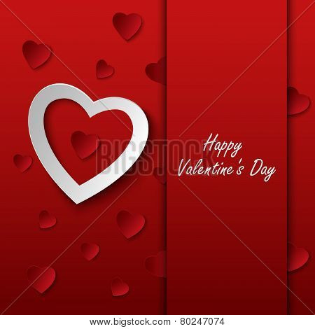 Valentines Card With Red Hearts On Background