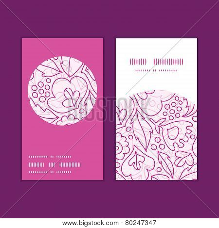 Vector pink flowers lineart vertical round frame pattern business cards set