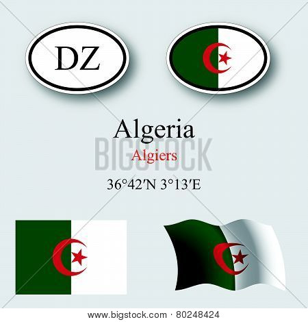 Algeria Flags And Icons Set
