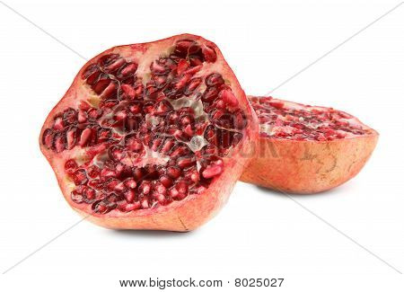 Cut Ripe Pomegranate Fruit On White