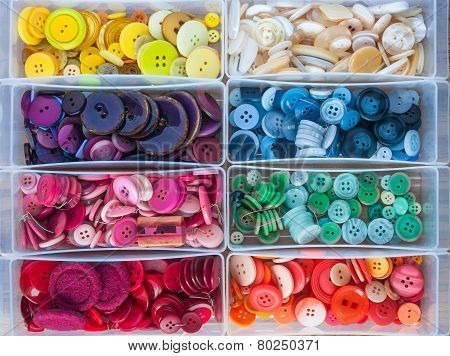 assortment of colourful sewing buttons