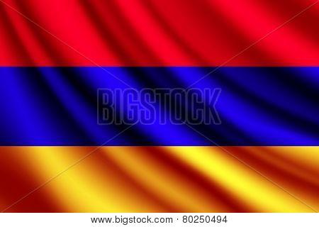 Waving flag of Armenia, vector