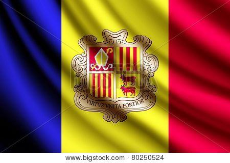 Waving flag of Andorra, vector