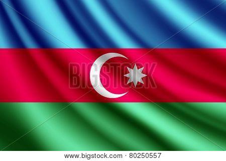 Waving flag of Azerbaijan, vector