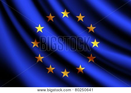 Waving flag of European Union, vector