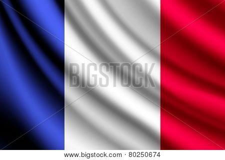 Waving flag of France, vector
