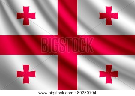 Waving flag of Georgia, vector