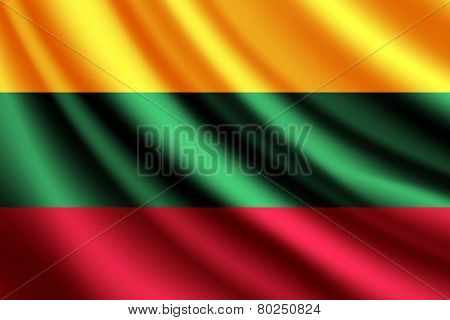 Waving flag of Lithuania, vector