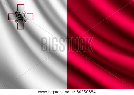 Waving flag of Malta, vector