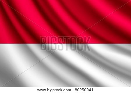 Waving flag of Monaco, vector