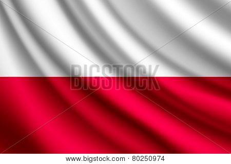 Waving flag of Poland, vector