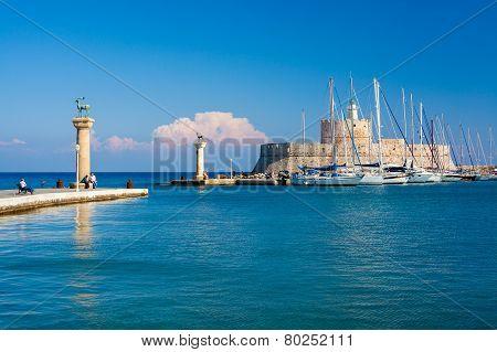 Entrance To Mandraki Harbour Rhodes