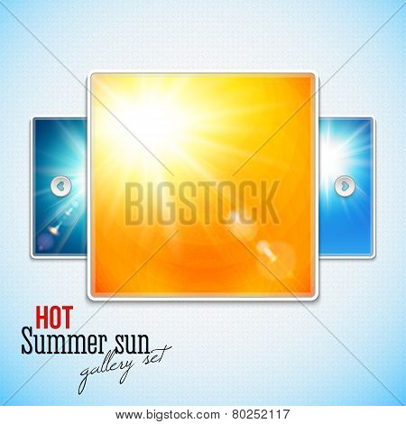 Set of hot shining sun with lens flare. Web slider stylization.