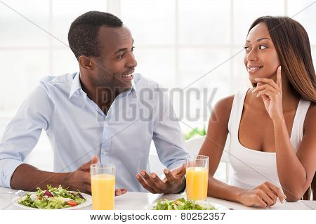 Loving Couple Having Breakfast.