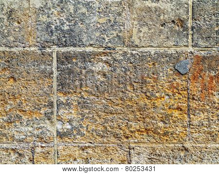 Old Concrete, Weathered, Worn Walls Lined With Natural Stone
